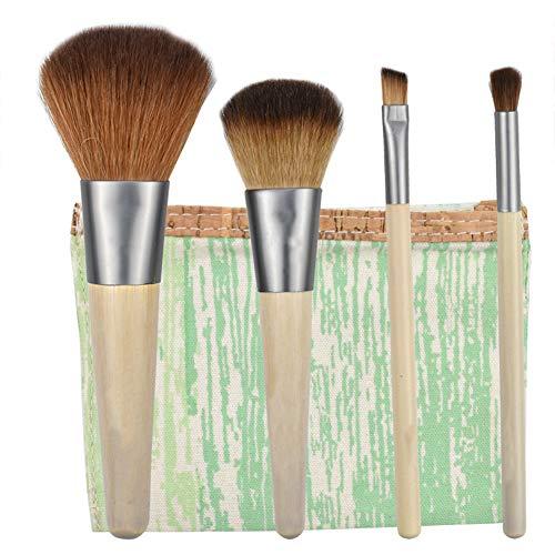 Brosse De Jeu De Maquillage Pour Le Visage 4 Pcs Avec Contour Ombre Poignée Sac De Brosse Fibre De L'utilisation Quotidienne De Bambou Oeil Brosse Brosse Ensemble