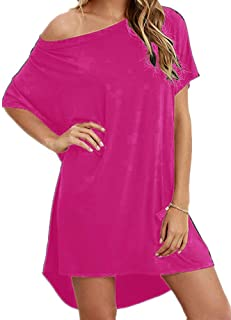 Hioinieiy Women's Tshirt Dress, Plus Size Top, Nightshirt Nightgown, Cover Up, Short Sleeve High Low Loose Soft