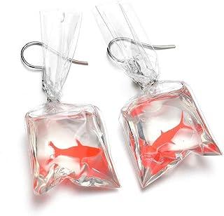 PPX Mode Boucles d'oreilles de Poisson Rouge Sac d'eau Crochet d'oreille Cadeau Parfait Rorme de Poisson Rouge dans un Sac...