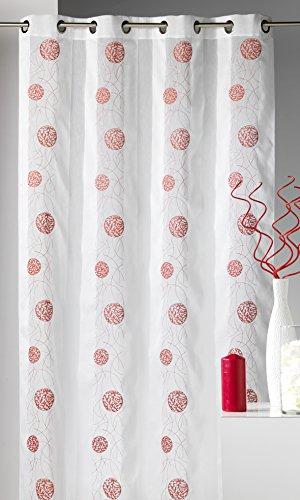 HomeMaison.Com HM69806935 Tessuto Fantasia Tenda con Ricamato Rotondo Bianco/Poliestere 140 x 240 cm Rosso