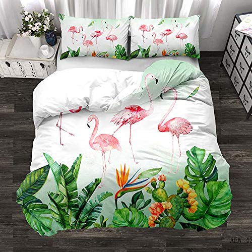 N/D Flamingo Duvet Cover Set Flower Leaves Print Kids Bedding Set 3 Piece Double Size Quilt Cover (1 X Duvet Cover + 2 X Pillowcase) 210x210cm S