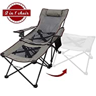 Xgear 2 in 1 Camping Chair with Footrest Recliner Folding Chaise Lounge Chair (Footrest Can Transform to Side Table) Very Stable, for Fishing, Beach, Picnics, Festival,Leisure