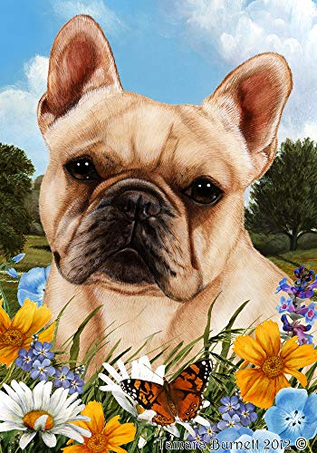 Best of Breed French Bulldog Cream Summer Flowers Garden Flags