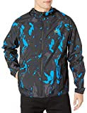 Lacoste Mens Sport Long Sleeve Novak Printed Windbreaker Jacket Jacket, Black/Nattier Blue/Graphite/Navy Blue, L