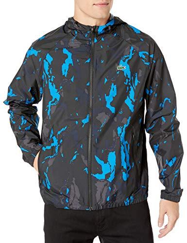 Lacoste Mens Sport Long Sleeve Novak Printed Windbreaker Jacket Jacket, Black/Nattier Blue/Graphite/Navy Blue, L/XL