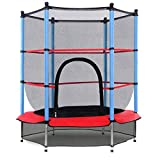 """Giantex 55"""" Round Kids Mini Jumping Trampoline W/ Safety Pad Enclosure Combo (Multicolor) (Black+Blue+Red)"""