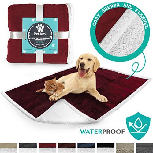 PetAmi Waterproof Dog Blanket for Couch, Sofa   Red Waterproof Sherpa Pet Blanket for Large Dogs, Puppies   Super Soft Washable Microfiber Fleece   Reversible Design   50 x 40 (Burgundy)