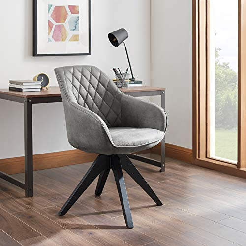 Silla Accent con patas de madera, sillón giratorio de mediados de siglo, estilo industrial para el hogar, oficina, estudio, sala de estar