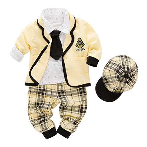 May's Kids Boys' Blazer Long Sleeves T-Shirt Tie Pants Gentleman Suit 5 Pieces Sets