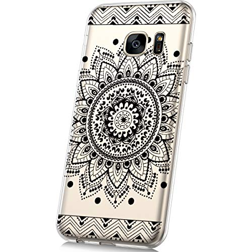 JAWSEU Funda Compatible con Samsung Galaxy S7 Transparente Suave TPU Silicona Gel Funda con Dibujos Animados Diseño Ultra-Delgado Anti-arañazos Resistente Protectora Carcasa,Mandala negro
