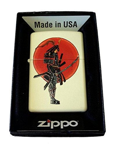 Zippo Custom Lighter - Japanese Warrior Samurai w/Bloody Sword Cream Matte - Gifts for Him, for Her, for Boys, for Girls, for Husband, for Wife, for Them, for Men, for Women, for Kids