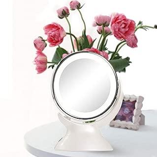 Daylight LED 5X Magnifying Makeup Mirror Espejo de vanidad de Viaje Iluminado de 6.49 ': luz Regulable, inalámbrico, con batería, succión con Bloqueo, rotación 360, portátil e Iluminado