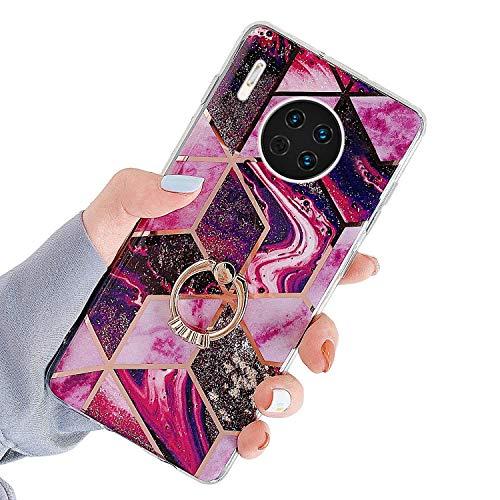 Herbests Kompatibel mit Huawei Mate 30 Hülle Handyhülle Glänzend Glitzer Bling Marmor Muster Silikon Schutzhülle Soft Stoßfest Handytasche mit Diamant Ring Halter Ständer,Rot Lila