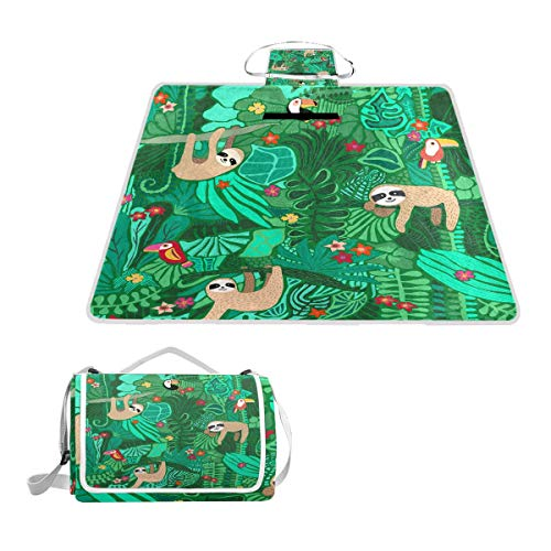 LORONA Faultier und Vögel Green Pattern Picknickdecke - Wasserfeste Outdoor-Decke - Extra groß 56x58 Zoll, übergroße Strandmatte für Reisen oder Camping