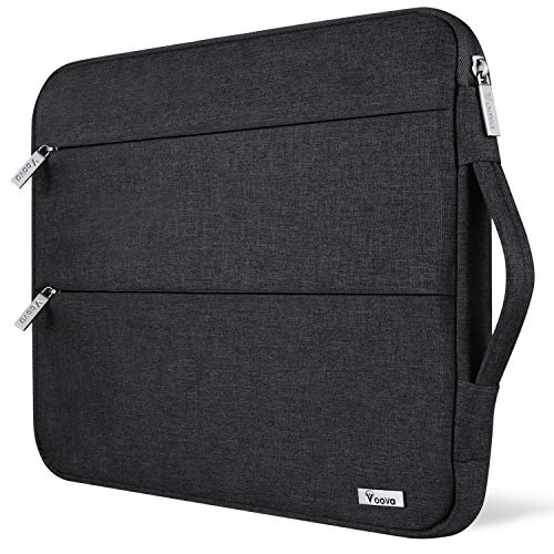 Voova 11 11.6 12 Inch Laptop Sleeve Case Cover, Water Resistant Computer Protective Bag Compatible with MacBook Air 11, Mac 12, Surface Pro X 7 6 5 4,Samsung Acer Asus Chromebook 3/4 with Handle,Black