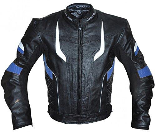 Germanwear, motorjack, leren jack, chopperjack, cruiserjack, 4 kleurcombinaties rood, blauw, geel, grijs, maat XL, kleur blauw