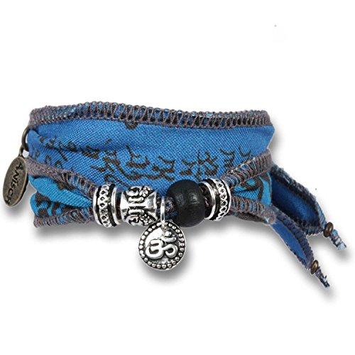 Anisch de la Cara - Homme Bracelet Space Mantra - Bracelet de vœux tibétain composé de Drapeaux de prière tibétains Mantra Wish - n° de cde 93310-b