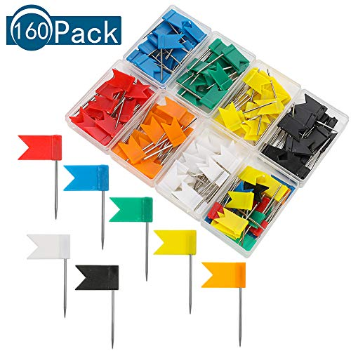 You&Lemon 160 Stück Markierungsfähnchen 8 Farben Karte Flagge Stecknadeln mit Aufbewahrungsbox Markierungs-Fahnen
