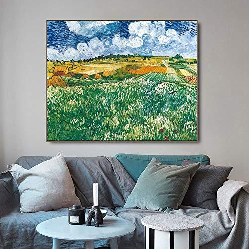SIRIUSART Llanuras Cerca de Orville de Vincent Van Gogh Lienzo Pintura decoración del hogar Cuadros artísticos de Pared para Sala de Estar 40x60cm sin Marco