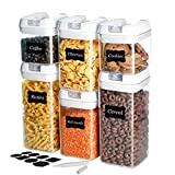 U-miss Airtight Food Storage Containers, 6 Pieces BPA Free Plastic Cereal Containers with Easy Lock Lids, for Kitchen Pantry Organization and Storage, Include 8 Labels and Marker