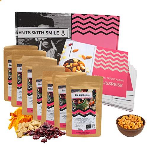 Früchte, Nüsse, Kerne in BIO-Qualität I 8 leckere Gourmet Überraschungen I Geschenkidee Gesundheitsbewusste und Sportler I Präsentbox mit Feinkost