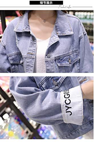 『デニムジャケットレディースジャケット春と秋の緩いデニムジャケット女子学生ショートショート (中号)』の5枚目の画像
