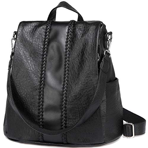 Women Backpack Purse, VASCHY Fashion Faux Leather Anti-theft Backpack for Ladies School Bag with Vintage Weave - Black - L