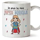 Mugffins Sorella Tazza/Mug - Io Amo la mia Super Sorella - Idea Regalo Originale di Compleanno - Tazza Migliore Sorella in Ceramica. 350 ml