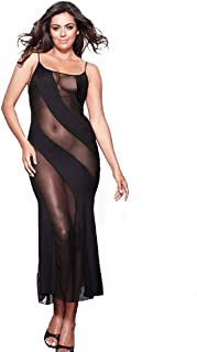 Long Semi Sheer Maxi Dress for Women Plus Size Sexy Robe Lingerie Set