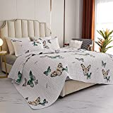 Kindred Home 3 Piece Quilt Set Butterfly Pattern Soft Microfiber Lightweight Coverlet Bedspread Summer Comforter Set Bed Cover Blanket for All Season (Queen, White)