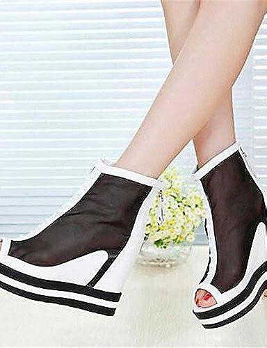GGX  Chaussures Femme-Décontracté-Noir   Blanc-Gros Talon-Talons-Chaussures à Talons-Polyuréthane