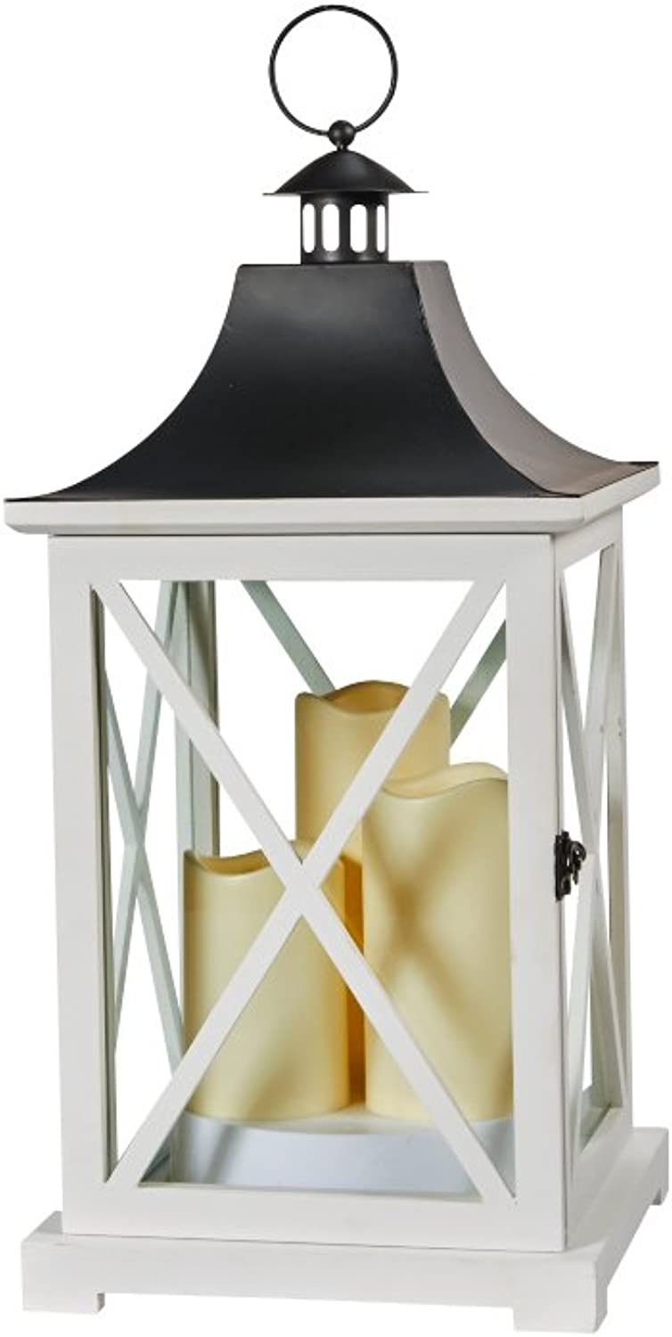 Smart Design York Triple LED Candle Lantern, 20-Inch, White, With Candles Powered By 3 LEDs Suitable For Both Indoor and Outdoor Use, 80076