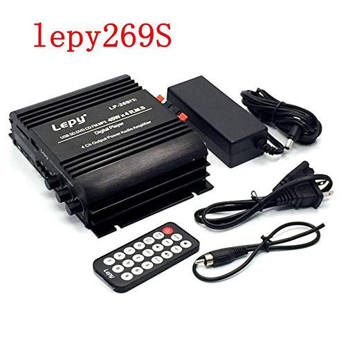 RONSHIN 4x45W Mini-Verstärker mit USB-Fernbedienung für USB-Medien FM Bluetooth 269S + Europäische Norm 12V5A Stromversorgung lepy269S