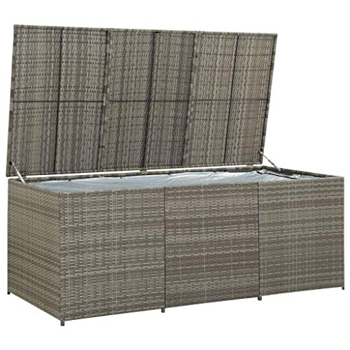 Outdoor Storage Chest Box–Large Storage Shed Container with Lid for Garden, Porch, Patio, Conservatory to Store Cushions, Toys, Tools and More, Poly Rattan 180x90x75 cm Grey