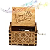 Womdee Music Box Merry Christmas Theme, Wooden Classic Music Box Crafts With Hand Crank, 18 Note Mechanism...