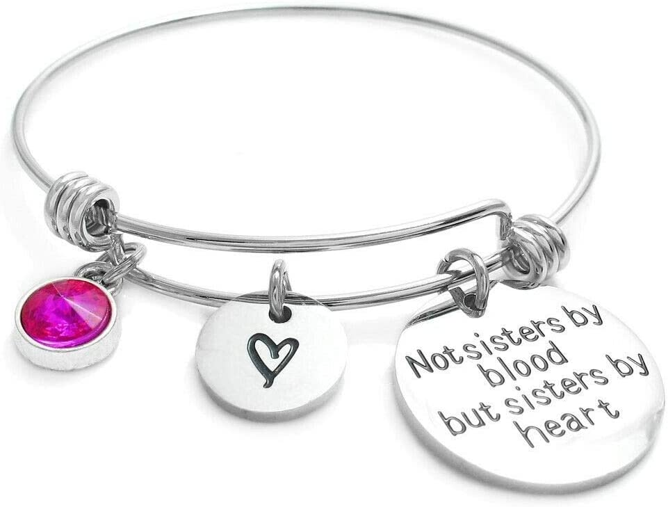 Stainless Steel ''Sisters shopping by Bangl Heart'' Birthstone Adjustable Free shipping anywhere in the nation