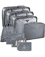Packing Cubes 10 Piece - JB Suitcase Organizer- Compression Cube+ Laundry and Shoe Bag| Heavy-Duty Zippers Mesh Top+ Handle- Great Travel Accessory Oxford Fabric 2 sets of 5