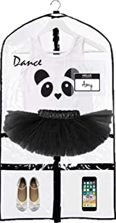 KEHO Clear Kids Garment Bag with 4 Pockets For Dance Competitions and Costumes | (Clear/Black)