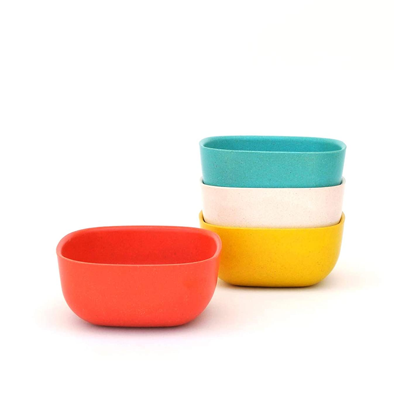 EKOBO Bamboo 8oz Bowl Set, Service for 4, BIOBU Eco-material, Indoor/Outdoor dining, Assorted Colors