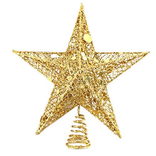GerFogoo - Puntale a forma di stella per albero di Natale, in ferro battuto, a 5 punte, ideale per decorazioni a forma di albero di Natale (15 cm)