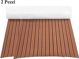 Lot de 2 Tapis de Sol pour Bateau, Tapis de Yacht en EVA Revêtement de Sol pour Yacht Bateau RV Décoration DIY 240 x 90 x ...