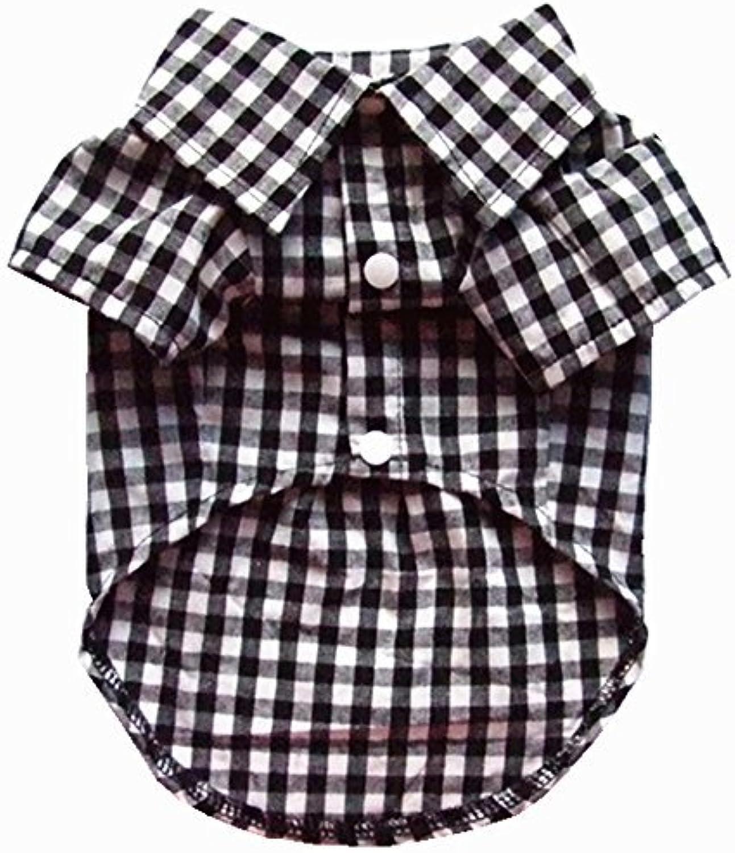 HOODDEAL Soft Casual Dog White and Black Plaid Shirt Gentle Dog Western Shirt Dog Clothes Dog Cotton Shirt + Dog Wedding Tie (XXLarge)