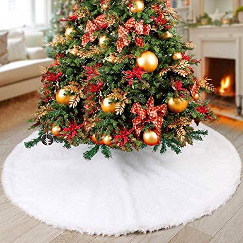 AAFGXSP Jupe de Sapin de Noël, Couvre Pied de Sapin Blanc Cache Pied Sapin Tapis de Sapin de Noel pour la fête de...