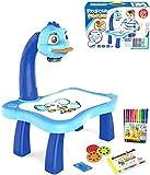 Hamosky Proyector inteligente mesa de pintura con música y luz – Juguete educativo para proyectar imágenes para ayudar a los niños a rastrear y dibujar, juego de pintura para niños (azul)