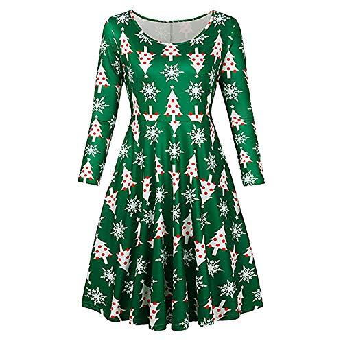 VEMOW Heißer Elegante Damen Abendkleid Vintage Weihnachten Santa Gedruckt Kostüm A-Line Lose Beiläufige Tägliche Party Schaukel Kleid(Grün, 34 DE/S CN)