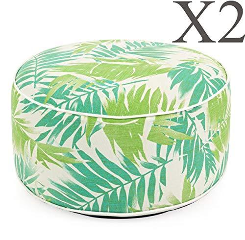 PEGANE Lot de 2 poufs d'exterieur gonflables Multicolore Tropique - Dim : Ø 53 x H 23 cm