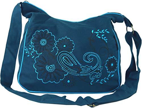 GURU SHOP Schultertasche, Hippie Tasche, Goa Tasche - Petrol/türkis, Herren/Damen, Blau, Baumwolle, Size:One Size, 23x28x12 cm, Alternative Umhängetasche, Handtasche aus Stoff