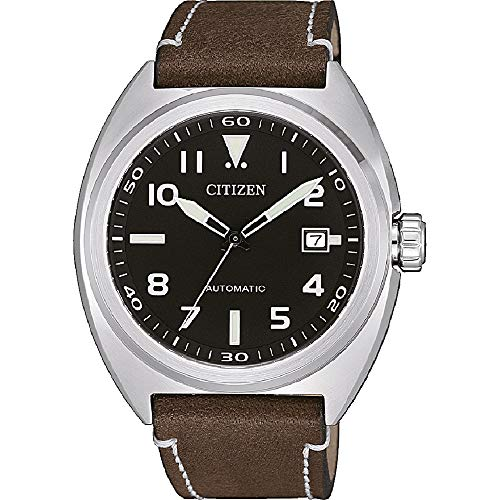 Citizen Men's Analogue Automatic Watch with Leather Strap NJ0100-11E