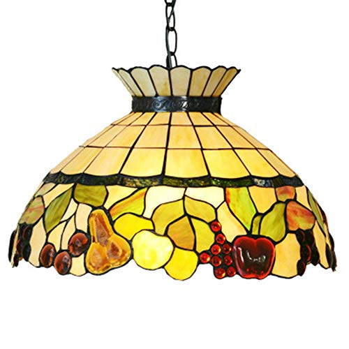 Tiffany Style Chandelier Dining Room, 18.5 Inch Decorated with Colorful Fruits Glass Lampshade Pendant Lights for Bedroom Office Restaurant Cafe Hanging Light