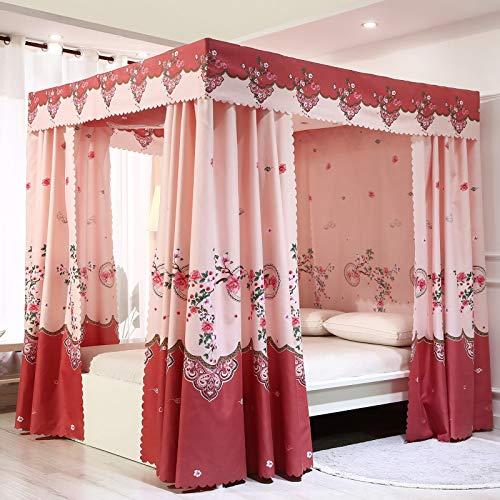 Mengersi - Cortinas para cama con dosel y cuatro esquinas para cama o cama (doble, flores rosas)